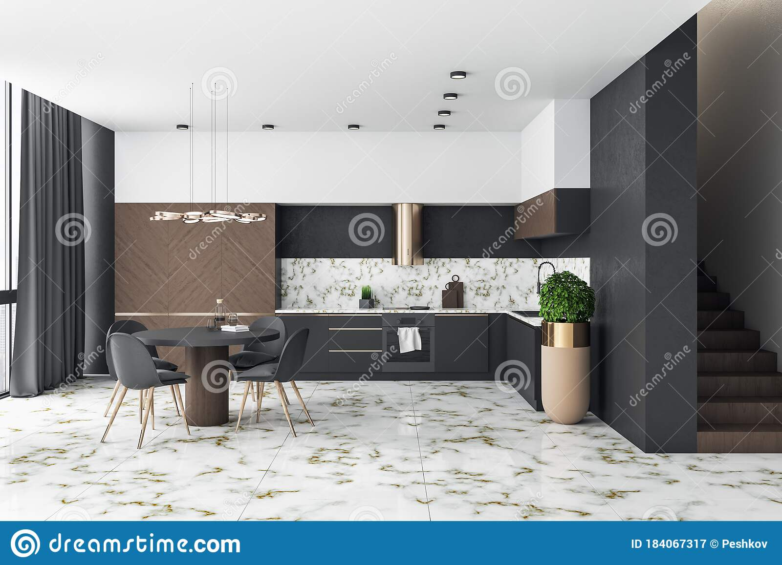 Modern Loft Kitchen Interior With Furniture And Marble Floor Stock Illustration Illustration Of House Furniture 184067317