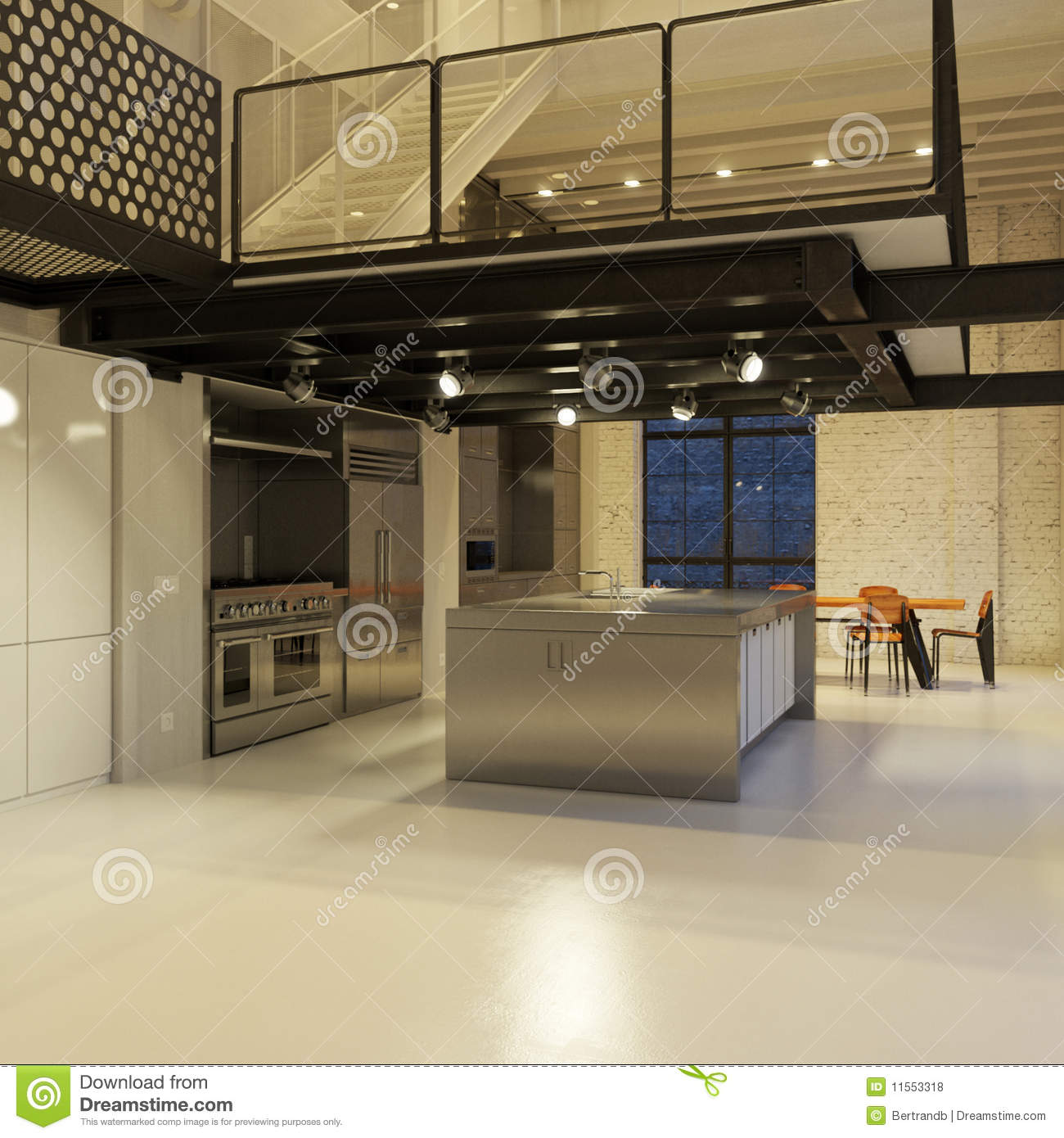 contemporary loft - kitchen royalty free stock photography - image