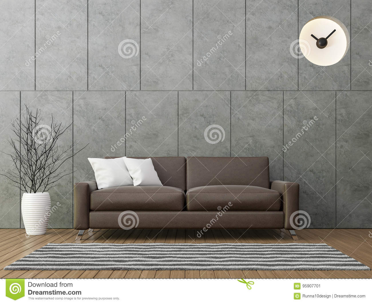 Modern Loft Living With Brown Leather Sofa 3d Rendering Image There Is A Polished  Concrete Wall With Groove Wood Floors And Decorate Wall With Hiding Clock