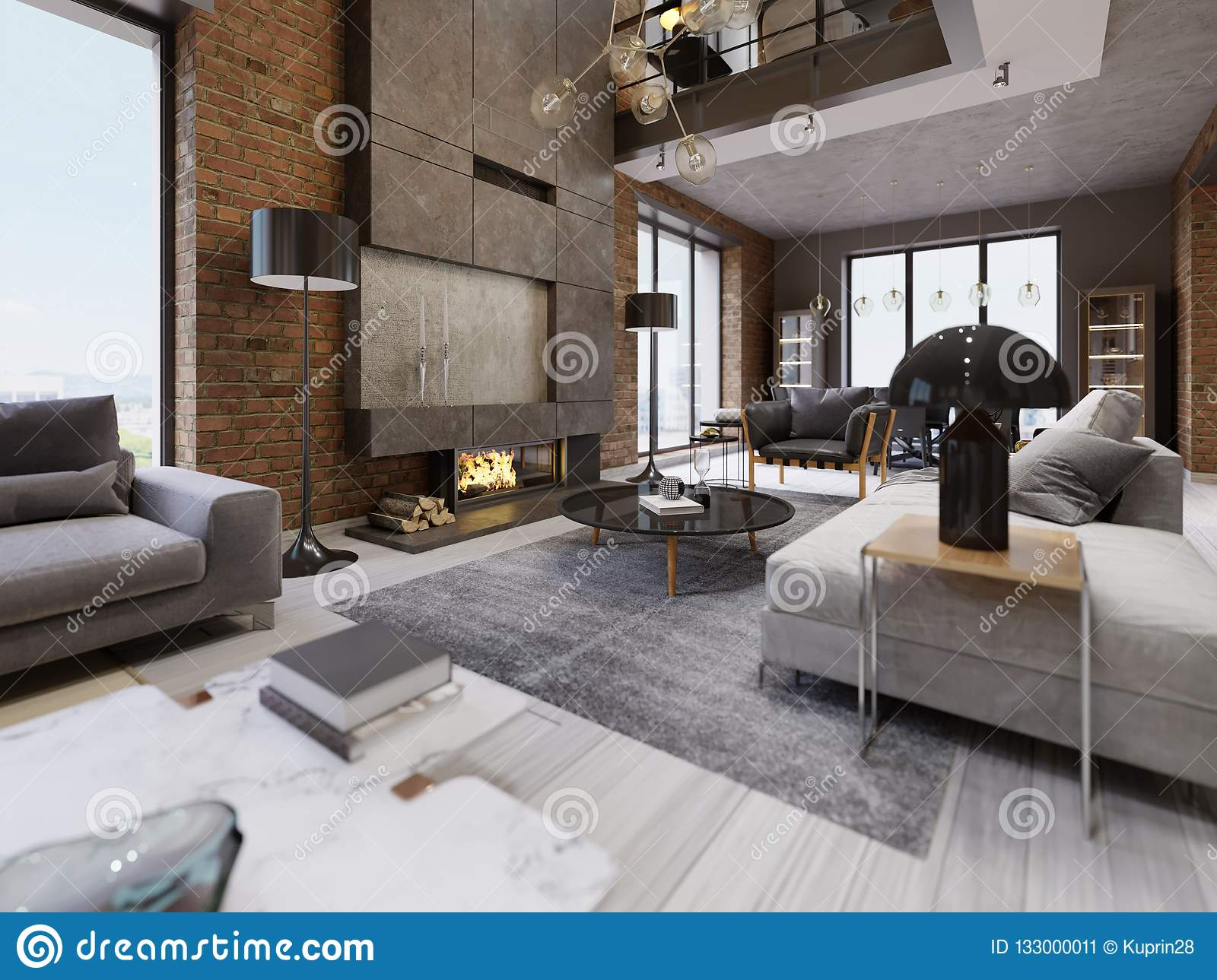 Red brick furniture Kelly Hoppen Modern Loft Living Room With High Ceiling Sofa Red Brick Wall White Parquet Upholstery Sofa And Furniture Design Accessories Dining Table With Chairs Yelp London Modern Loft Living Room With High Ceiling Sofa Red Brick Wall