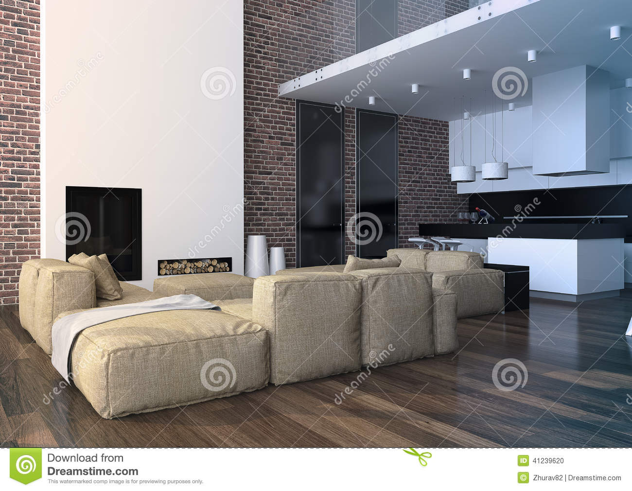 Modern loft living room interior stock photo image of for Image of a room