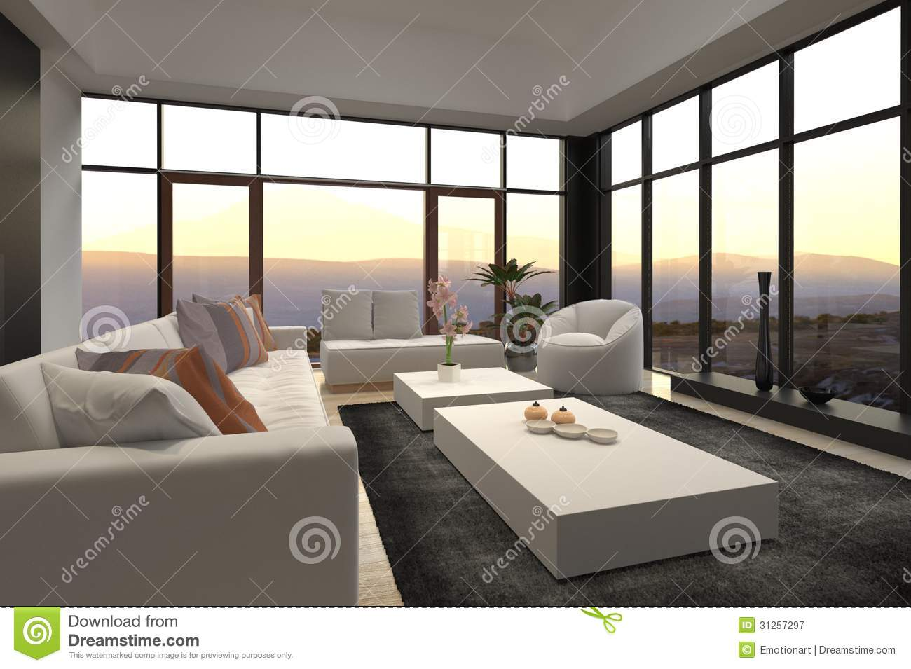 Modern Loft Living Room With Sunset Sunrise View Royalty