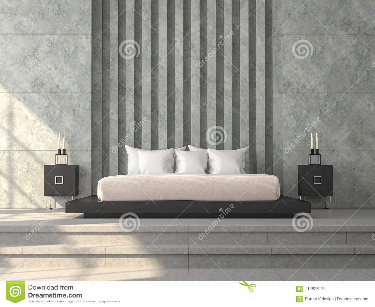 Download Modern Loft Style Bedroom 3d Render,There Concrete Tile Floor,polished  Concrete Wall