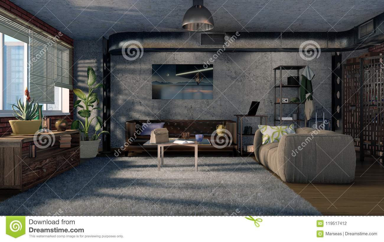 Download Modern Loft Style Living Room Interior