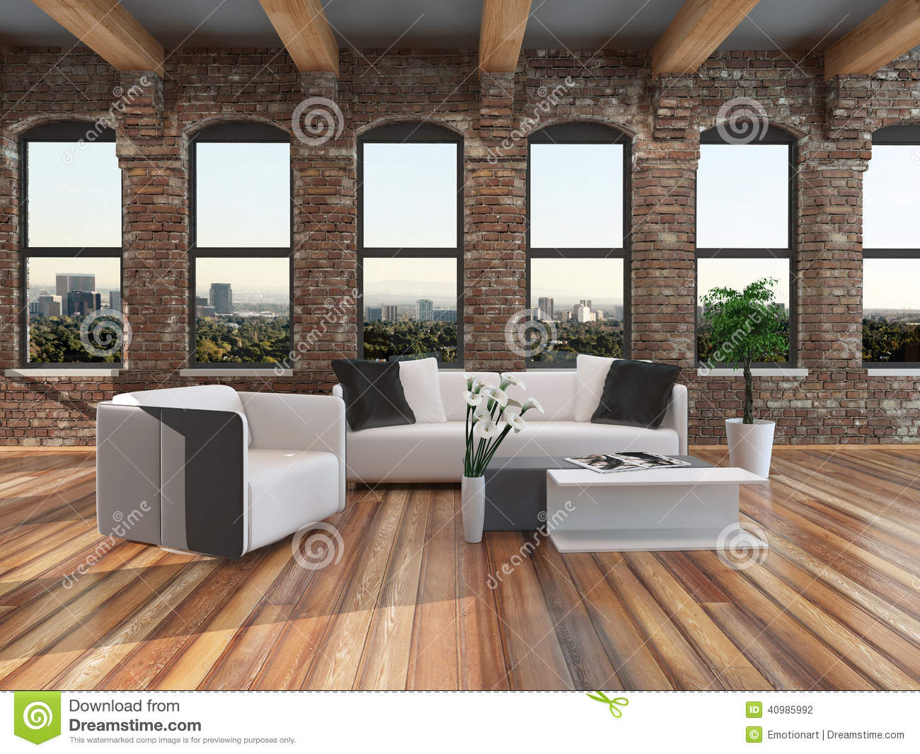 Modern Loft Stil ~ Modern loft style living room interior stock illustration
