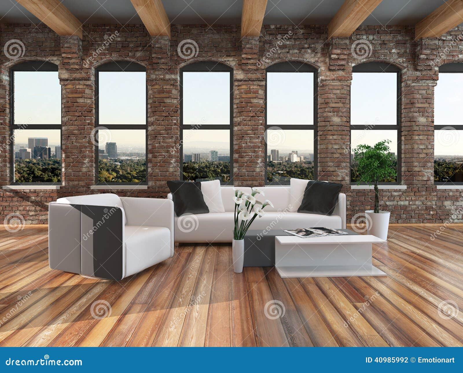 Modern loft style living room interior stock illustration for Modern loft living room