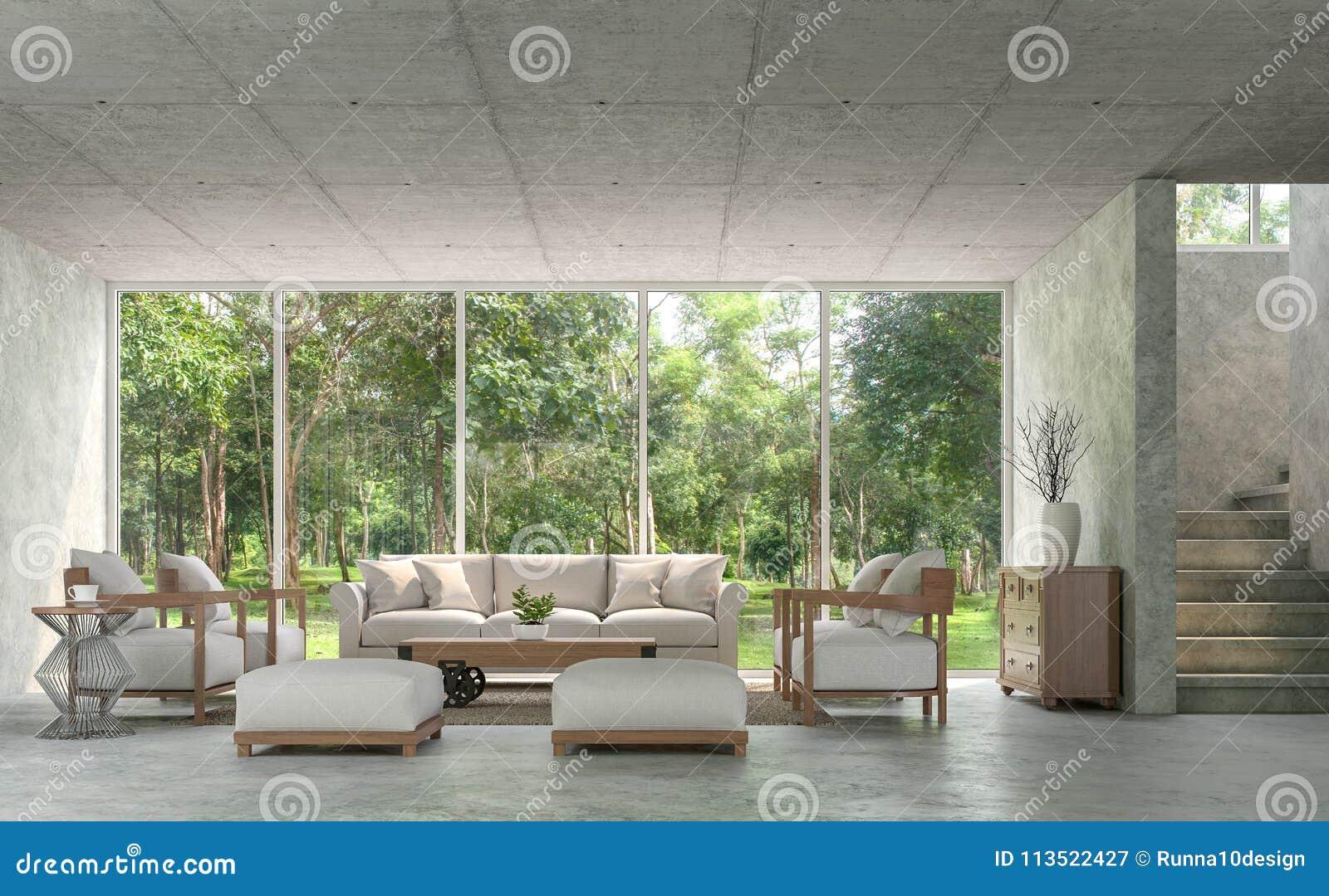 polished concrete floor loft. Modern Loft Style Living Room With Polished Concrete 3d Render Floor W