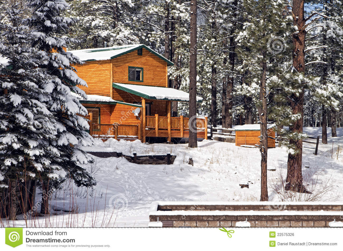 Log cabin in the woods winter - Trendy Modern Log Cabin Home In The Winter Woods Stock Photography With Modern Log Cabin