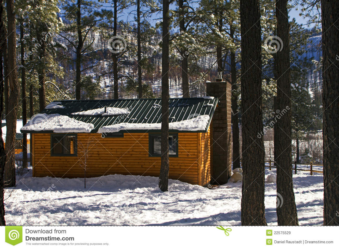 Modern log cabin home in the winter woods royalty free for Modern log cabin homes
