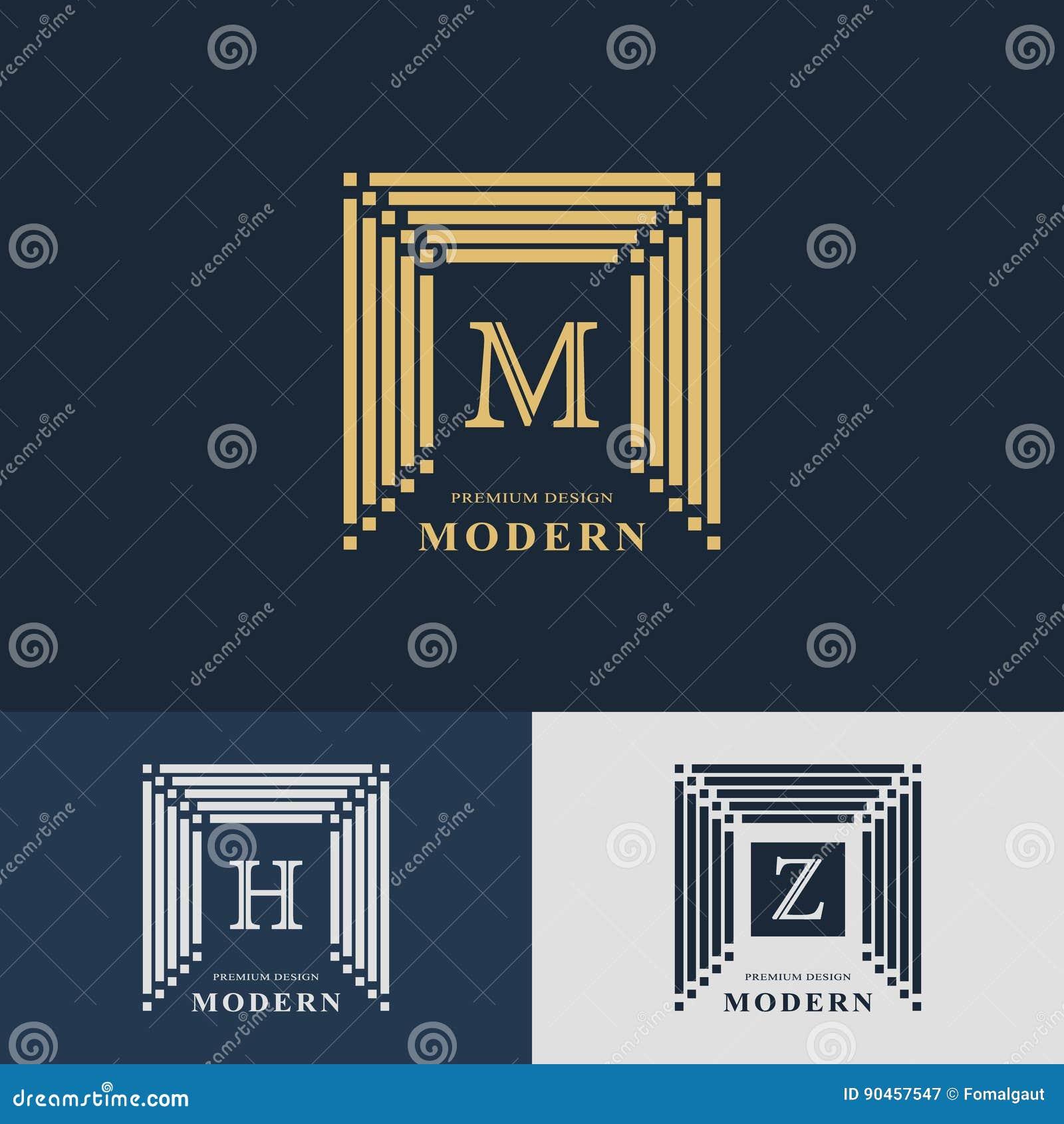 modern logo design  geometric linear monogram template