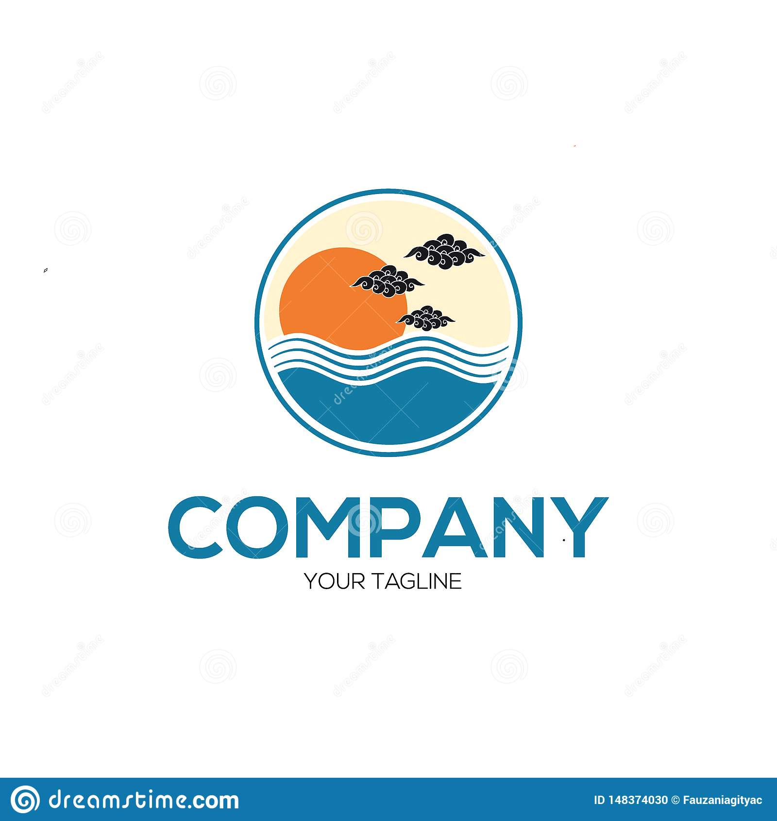 Modern logo sunset illustrations concept
