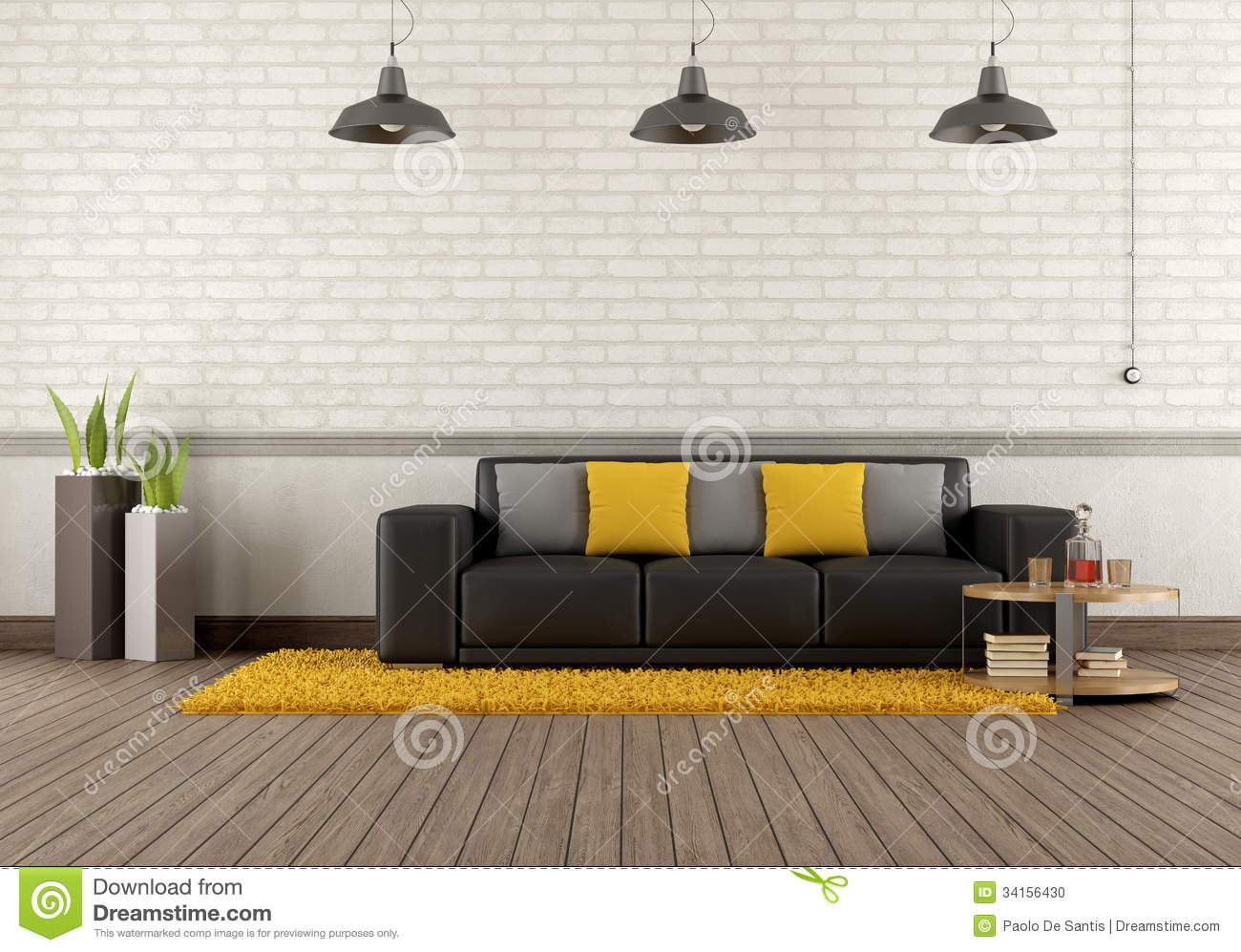 Modern Lounge With Brown Sofa Stock Photo Image 34156430