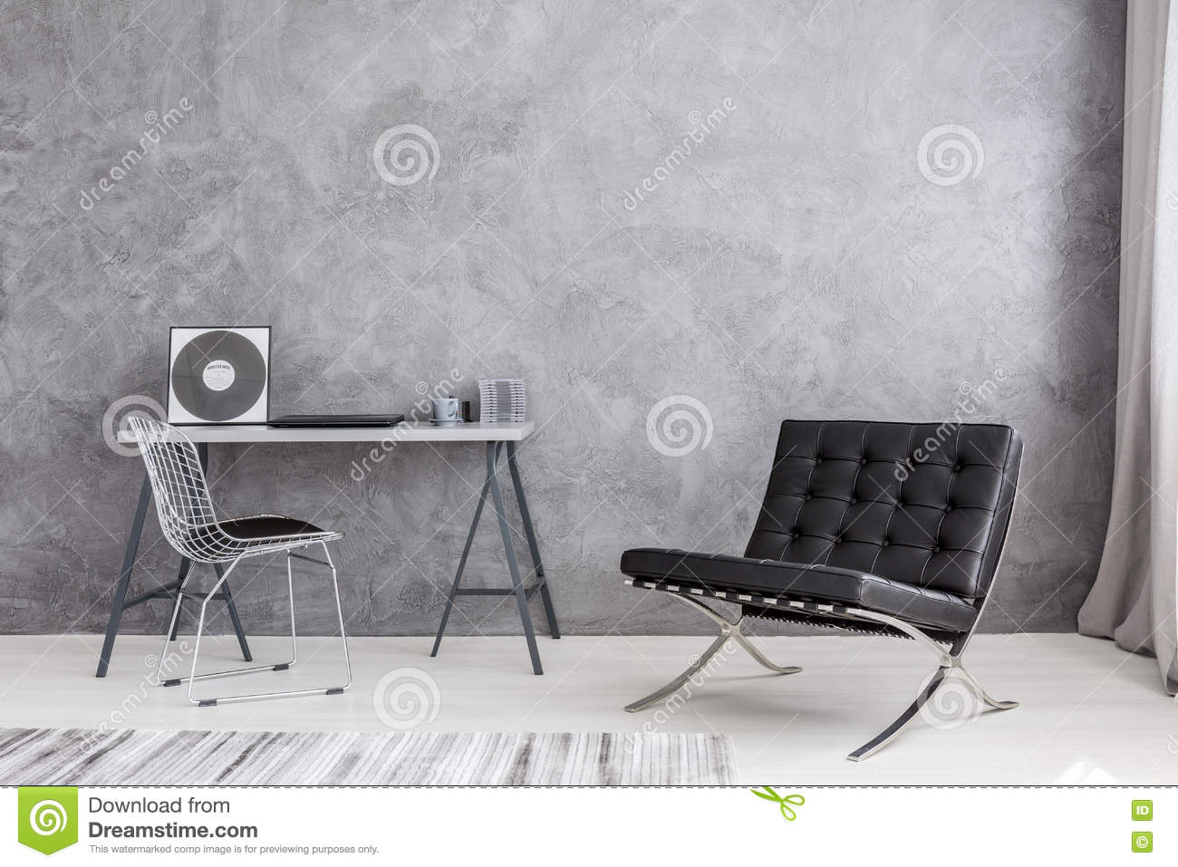 Modern Lounge Chair And Music Collection Stock Photo - Image of ...