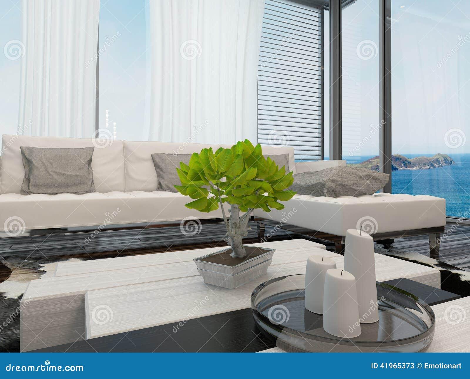 modern lounge interior with large windows stock illustration  - modern lounge interior overlooking the sea stock photos