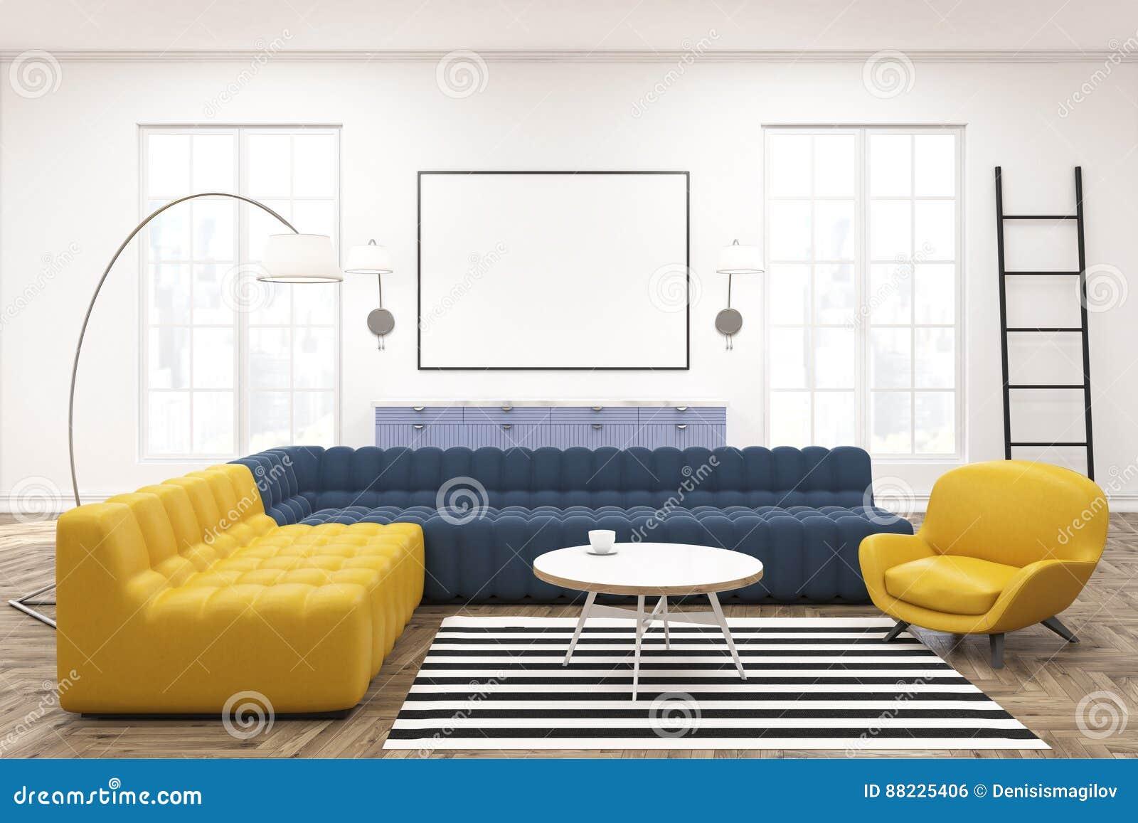 Modern Lounge Interior, Poster, Sofas Stock Illustration ...