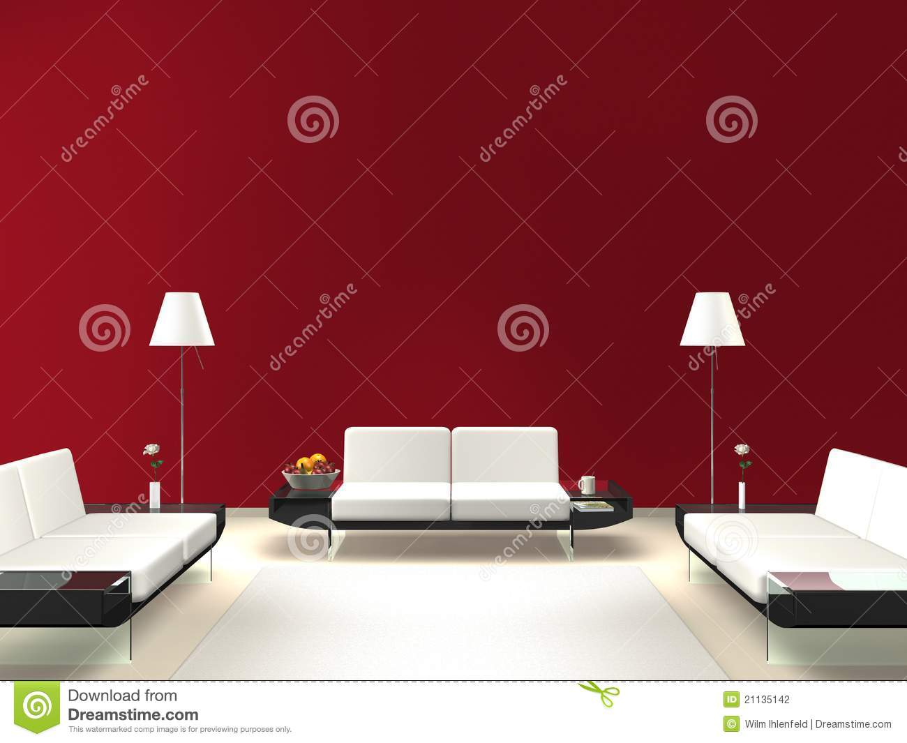 Rendering of a modern interior scene with space for wall decoration ...