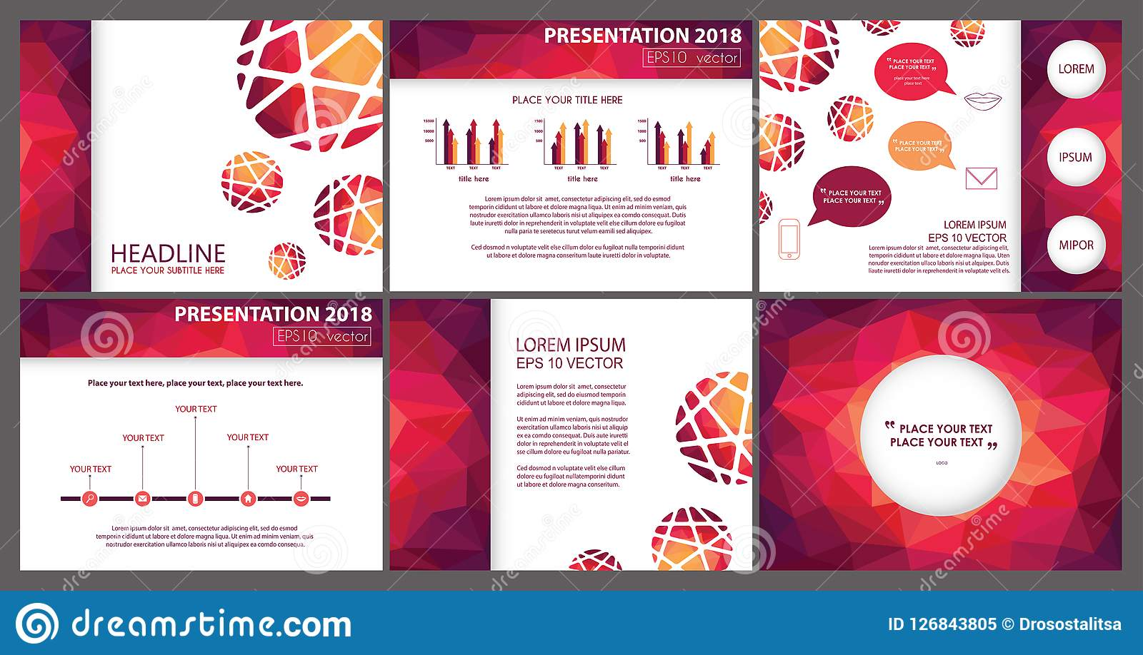 Bright Fuchsia Feminine Polygonal Powerpoint Presentation Template Stock Vector Illustration Of Polygonal Business 126843805