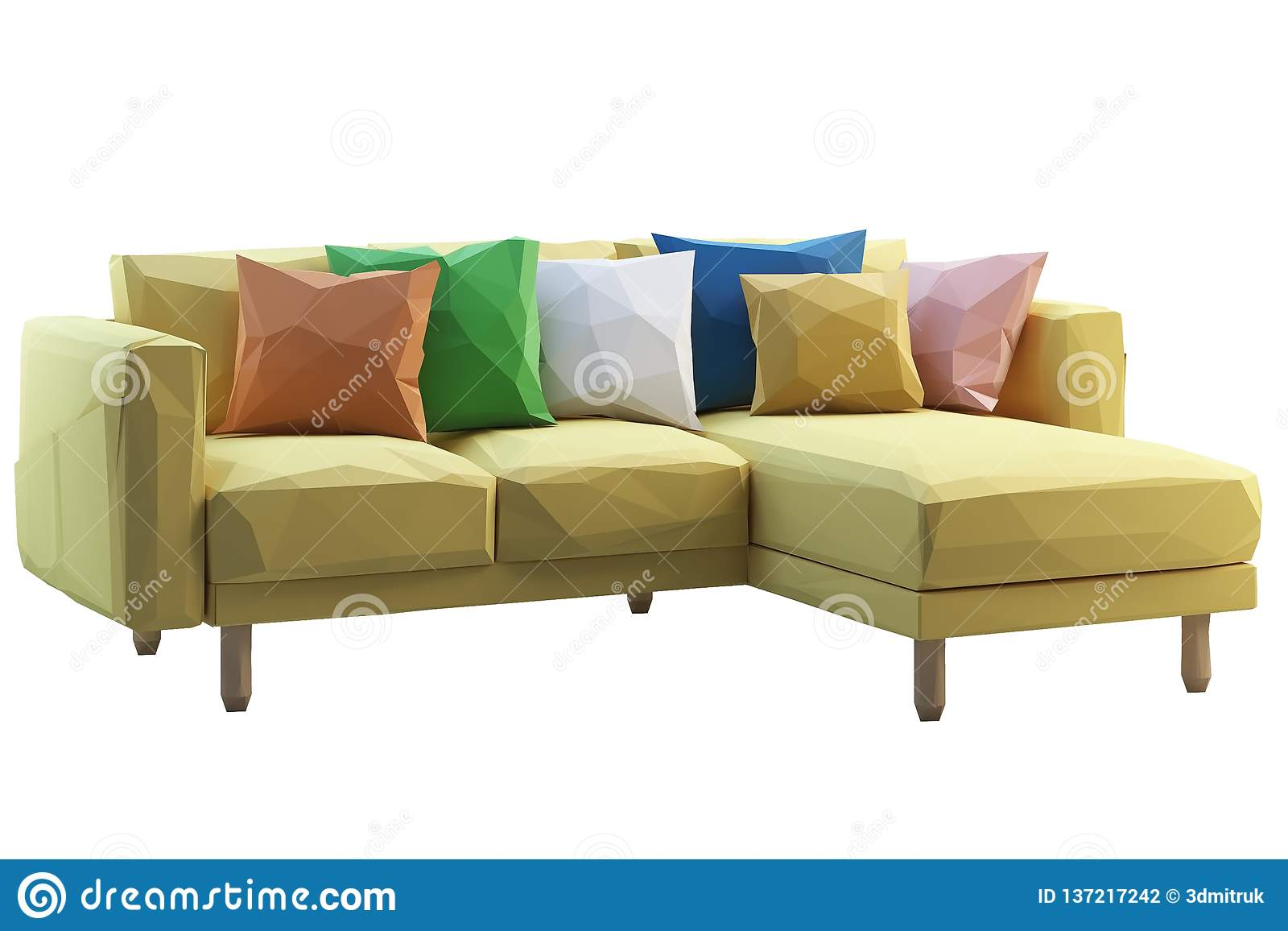 Modern Low Poly Yellow Fabric Sofa With Colored Pillows. 3d ...