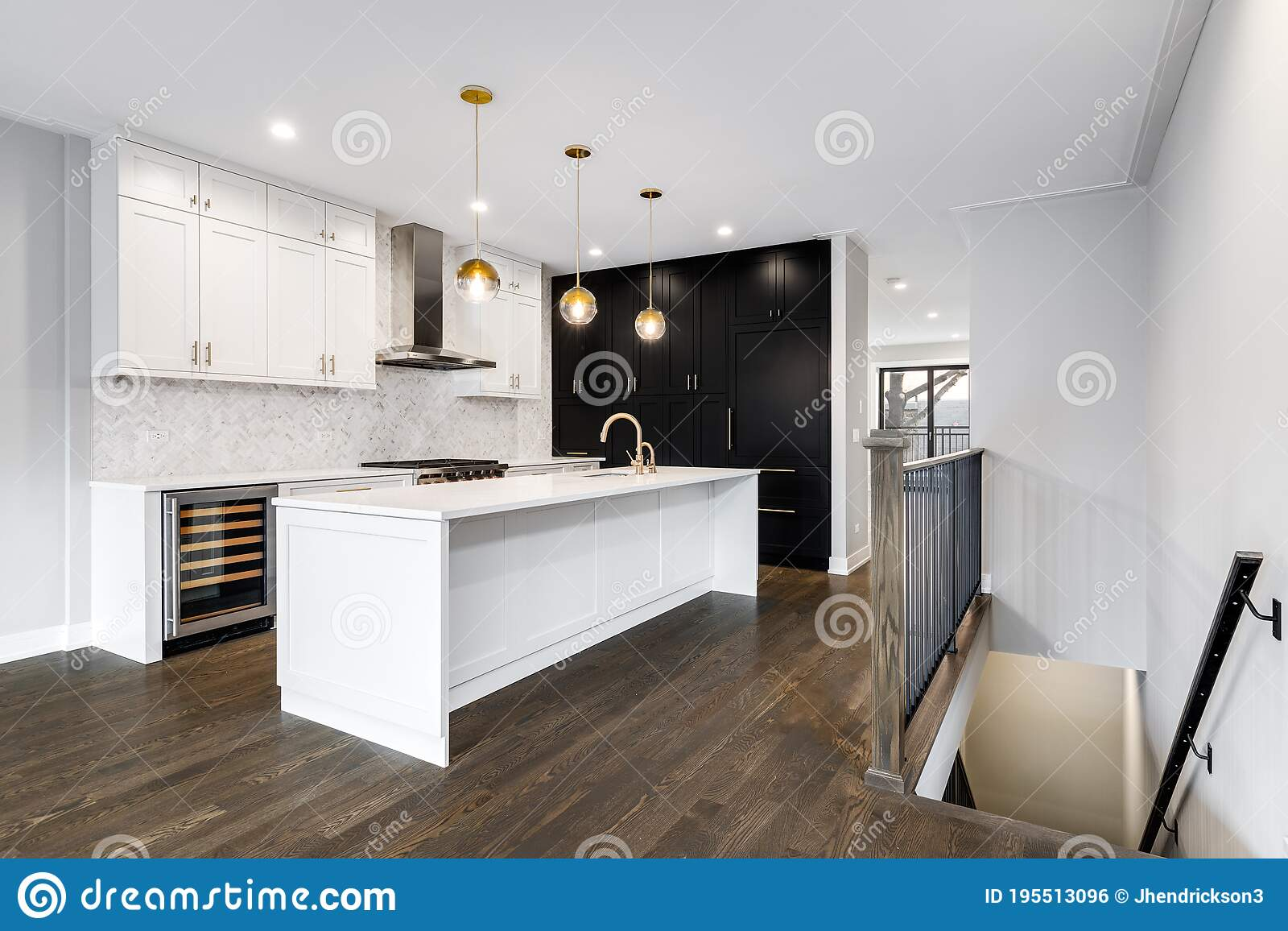 A Modern Luxurious Kitchen With White And Black Cabinets Editorial Photo Image Of Custom Counter 195513096