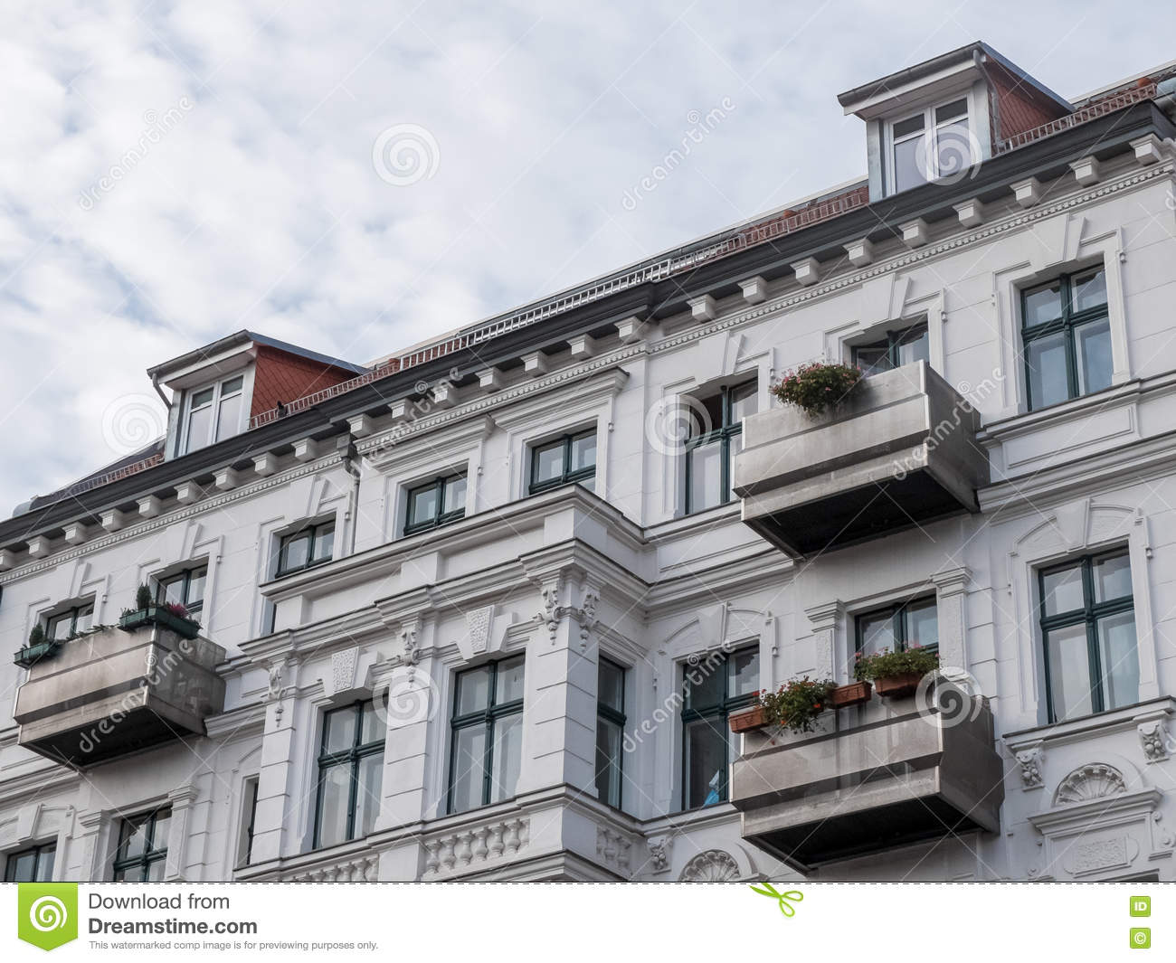 Modern Luxury Apartment Building With Balconies Stock Photo