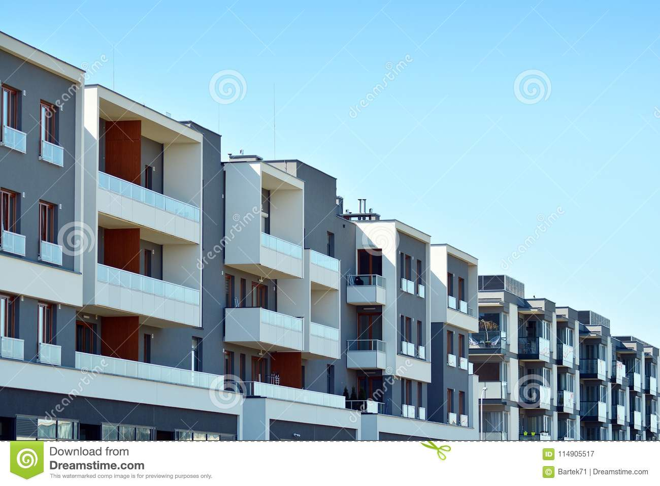 Facade Of A Modern Apartment Building. Stock Image - Image ...