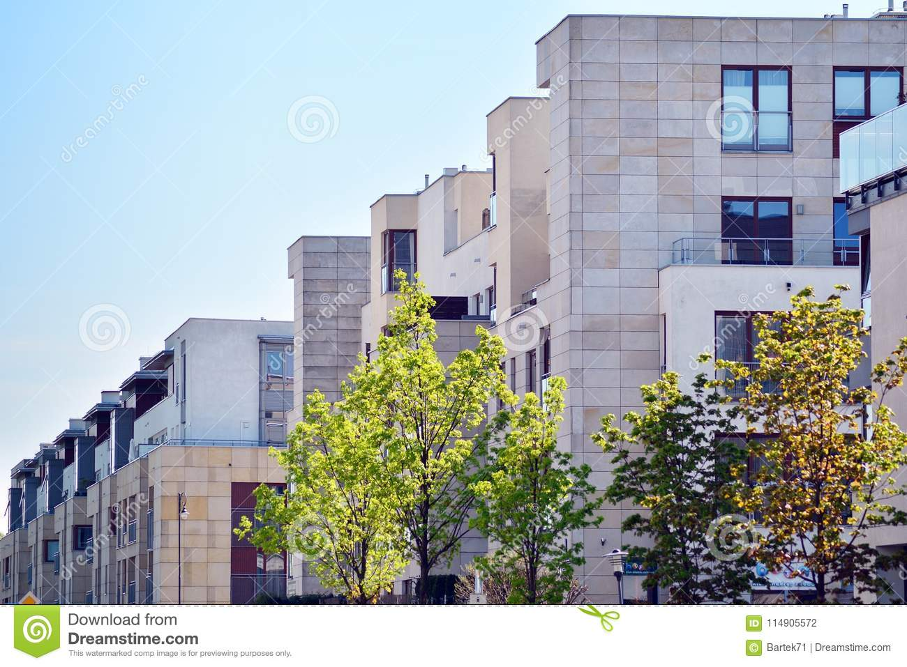Download Facade Of A Modern Apartment Building. Stock Photo   Image Of  Building, Glass