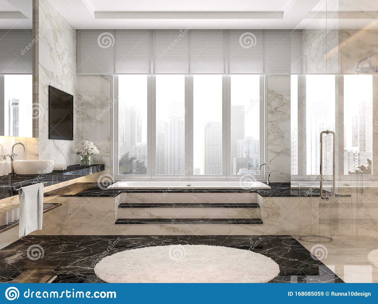 Modern Luxury Bathroom With Black And White Marble Tile 3d Render Stock Illustration Illustration Of Hotel Large 168085059