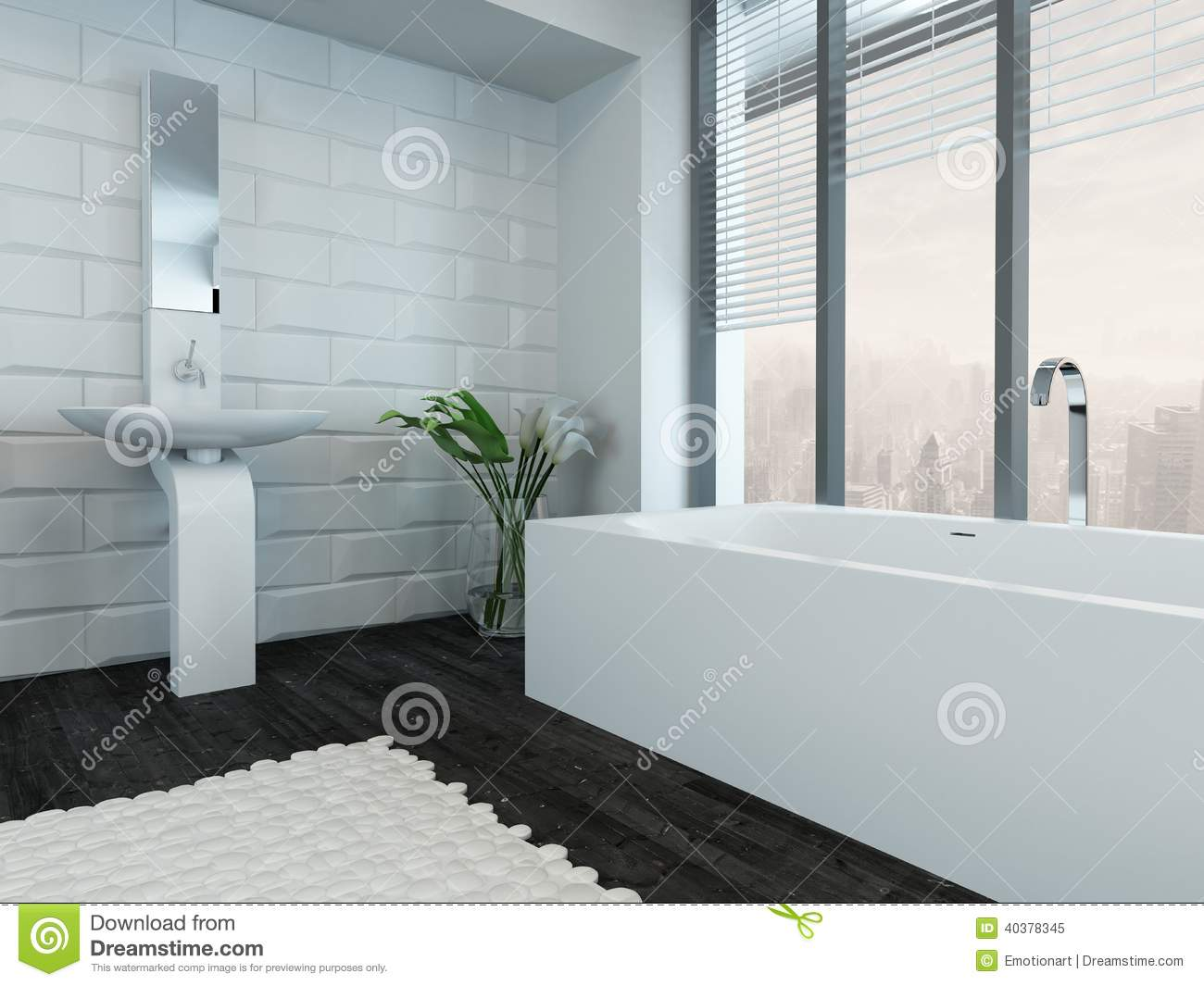 Modern Luxury Bathroom Interior With Bathtub Stock Image - Image of ...