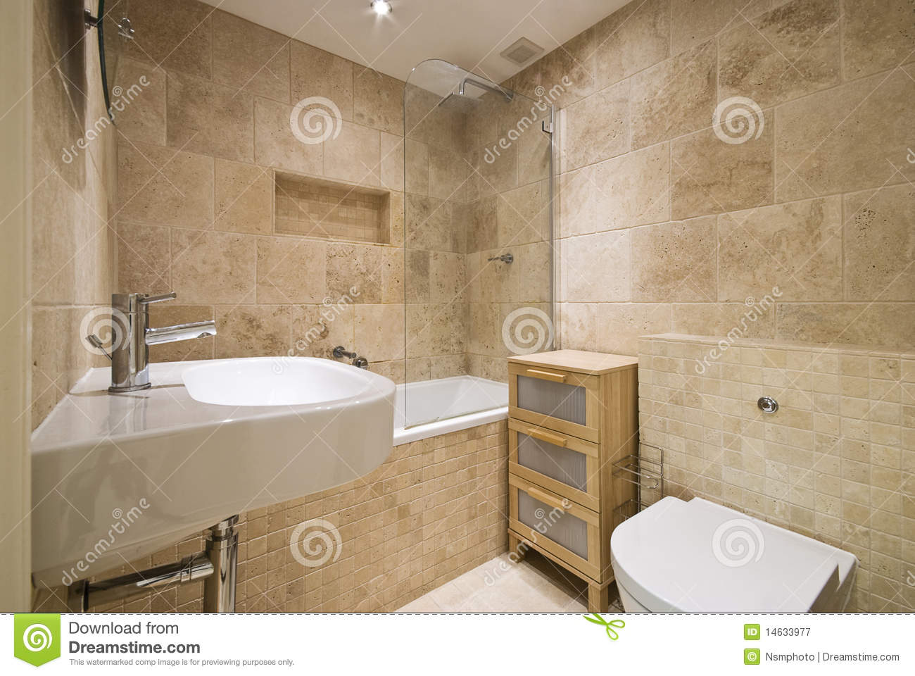modern luxury bathroom with natural stoned walls stock