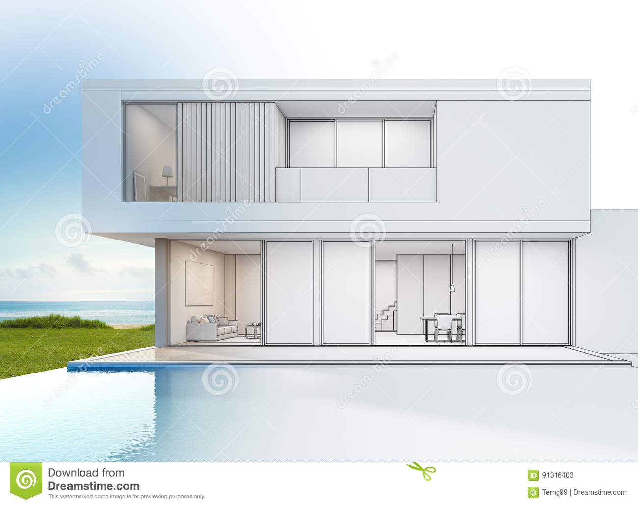 Modern luxury beach house with sea view swimming pool for Modern house design sketch
