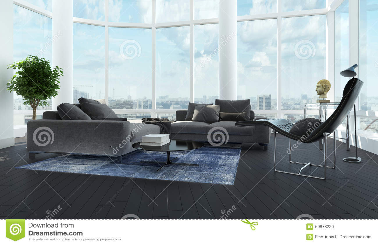 Black and white living room - Modern Luxury Black And White Living Room Interior Stock Photo