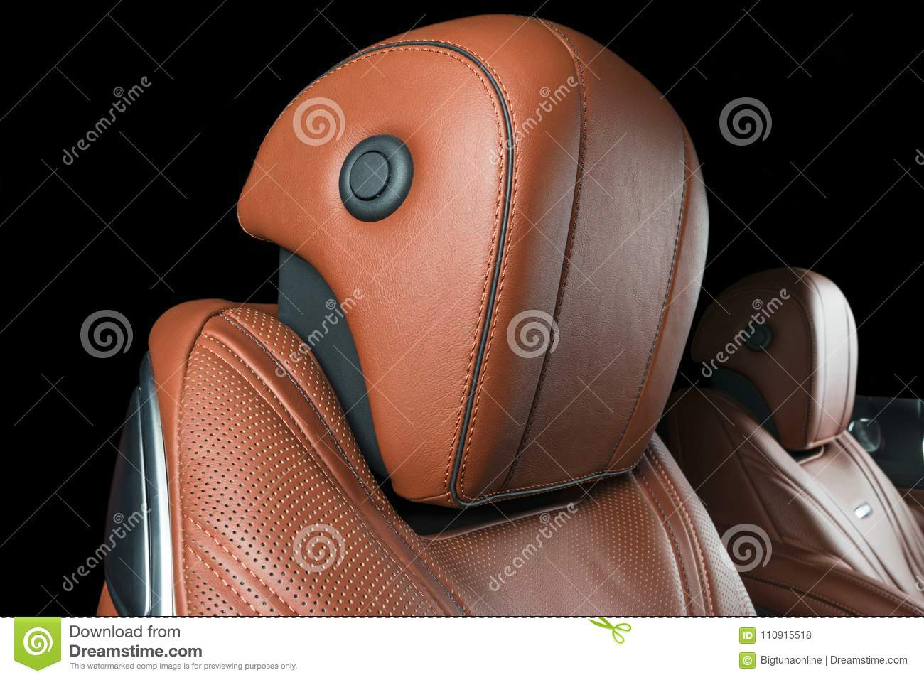 Modern Luxury Car Inside Interior Of Prestige Modern Car Comfortable Leather Seats Brown Perforated Leather Cockpit Stock Photo Image Of Colorful Interior 110915518