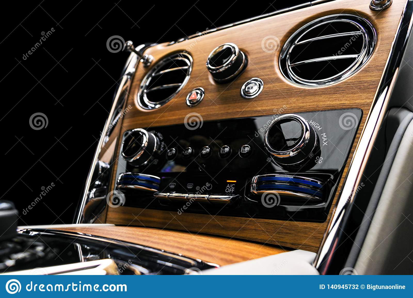Modern Luxury Car Inside Interior Of A Vehicle With Natural Wood Panel White Leather With Stitching Car Detailing Dashboard M Stock Photo Image Of Interior Limousine 140945732