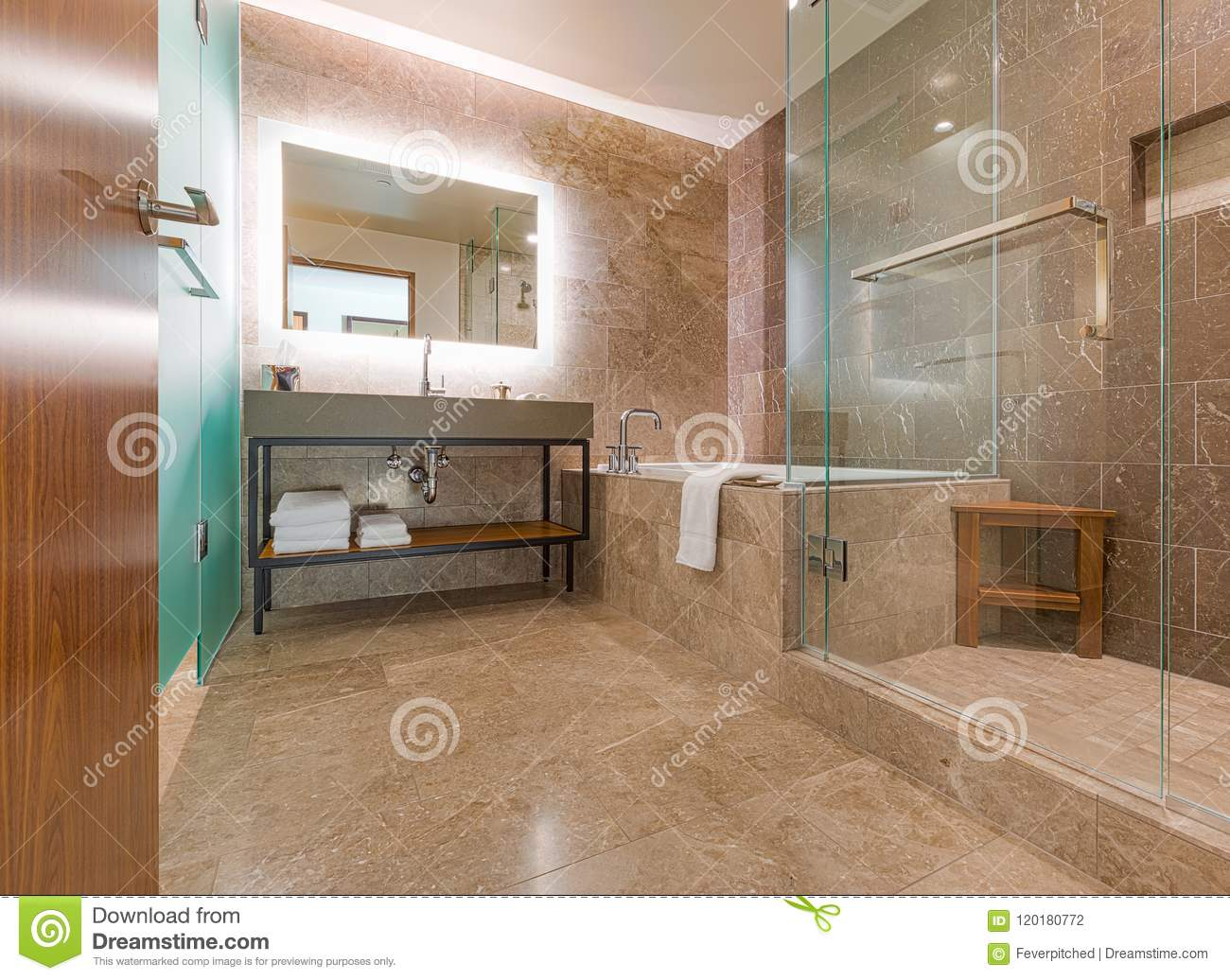 Luxury Large Walk In Showers.Modern Luxury Contemporary Marble Tiled Bathroom Stock Photo