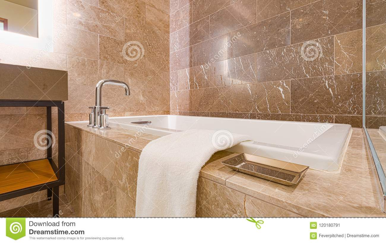Modern Contemporary Marble Tiled Bathroom Stock Image - Image of ...