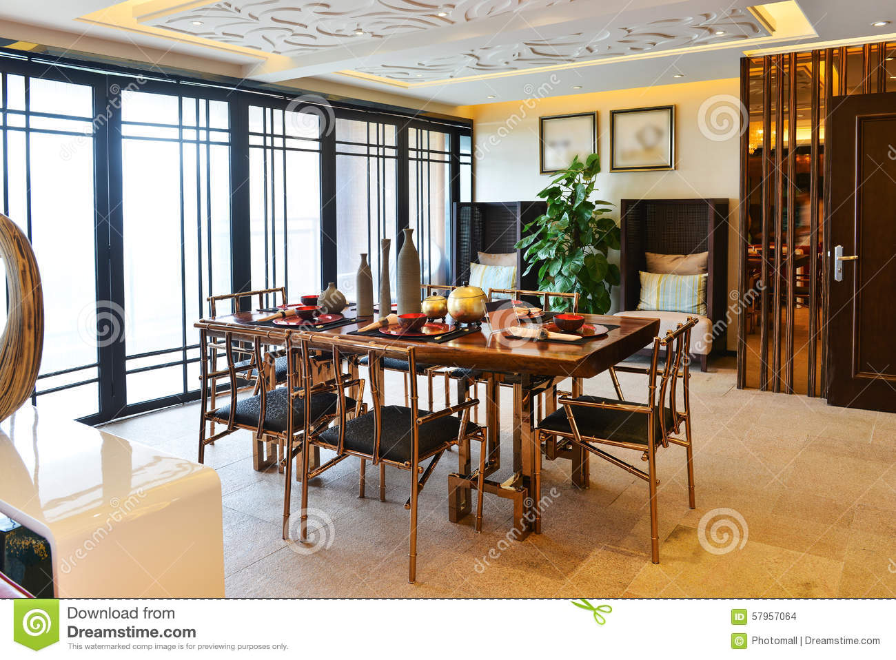 Modern luxury dining room stock photo image 57957064 for Salle a manger de luxe