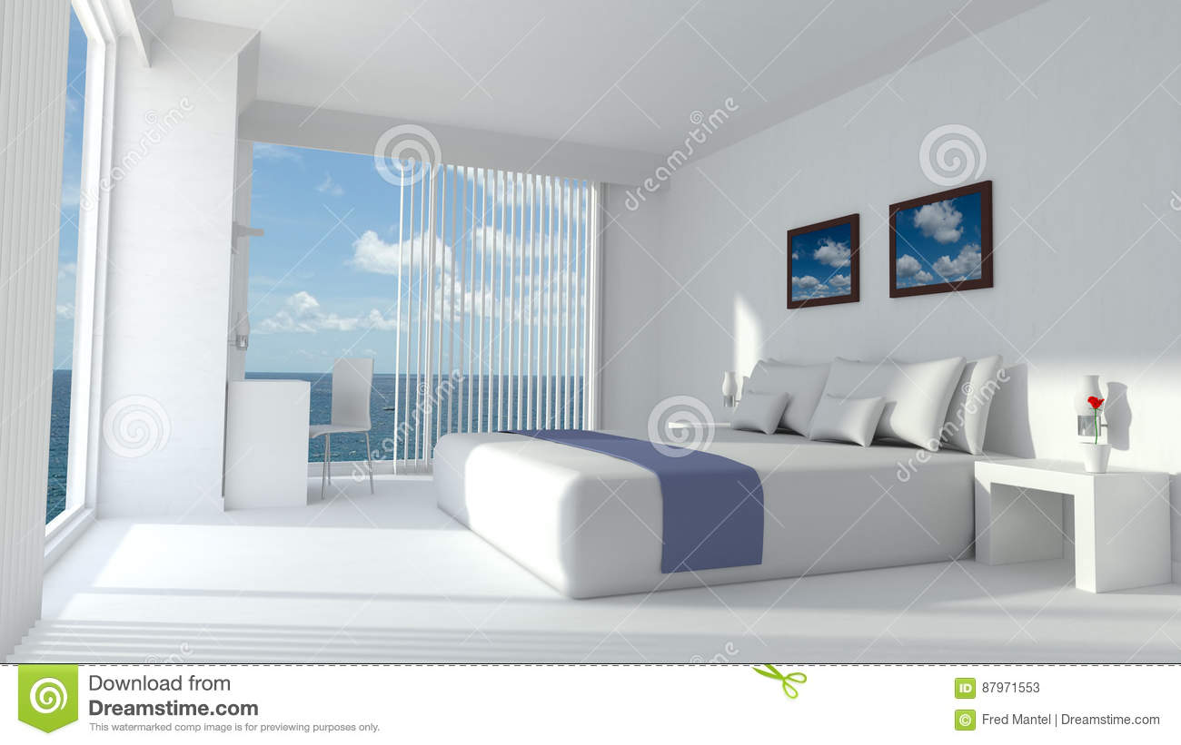 3D Rendering Of A Hotel Room. The Interior Of The Luxury Bedroom Is Modern  And Has Design Furniture. At The Background You Can See Trough The Windows  With A ...