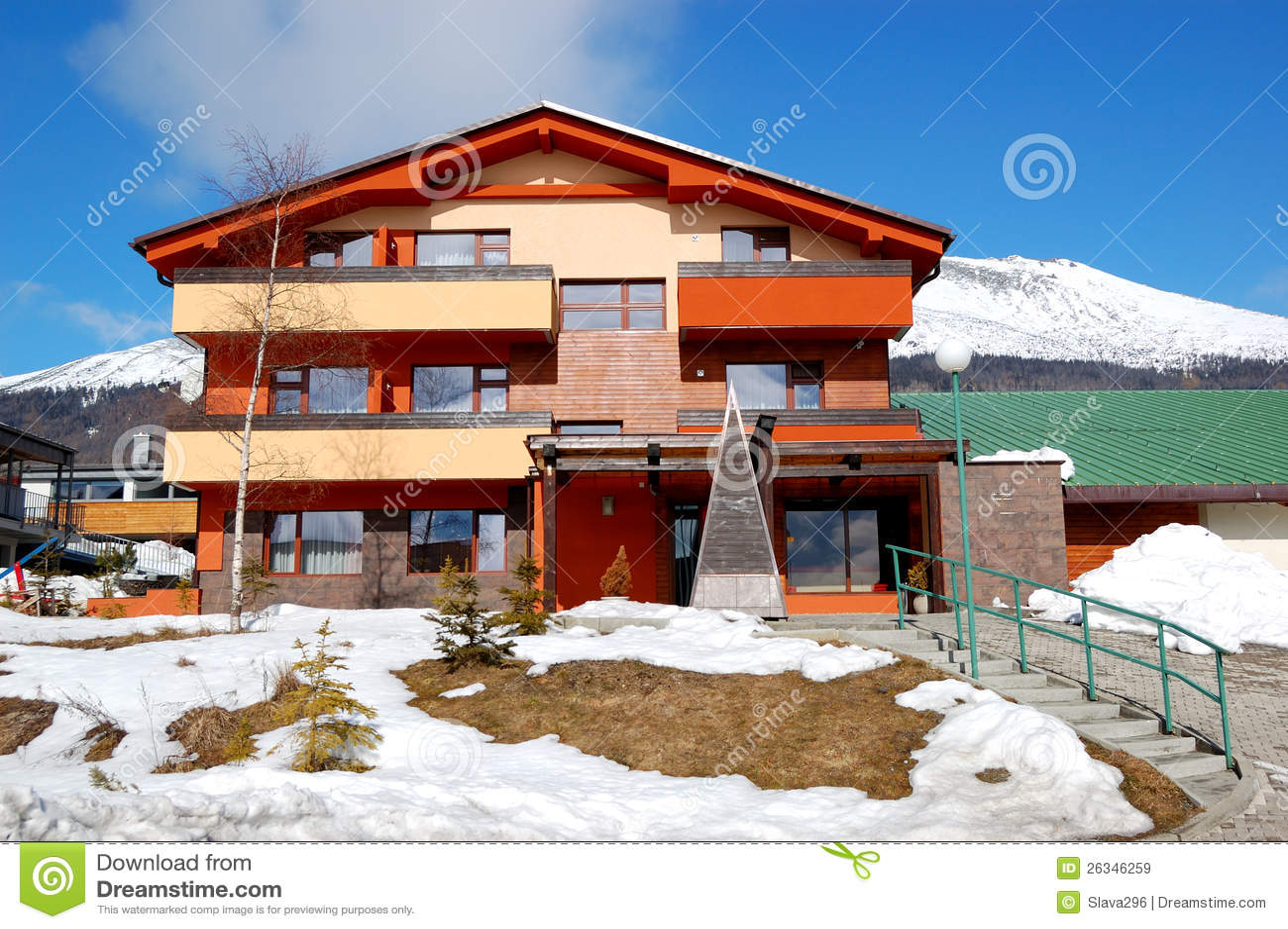 Modern luxury hotel at ski resort royalty free stock for Moderne skihotels