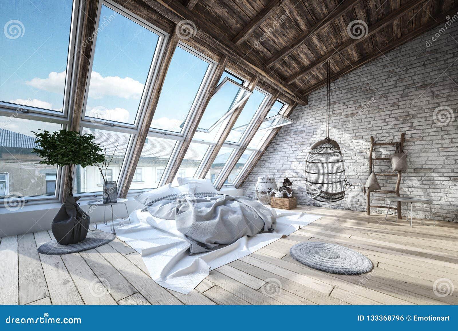 Modern, luxury, industrial loft bedroom interior