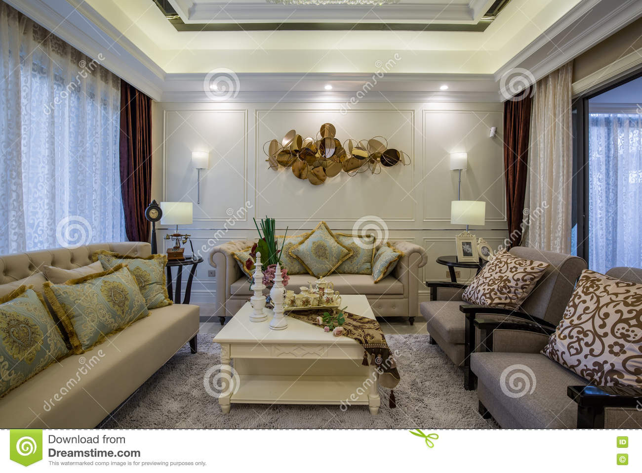 modern luxury interior home design parlor living room villa royalty free stock photography