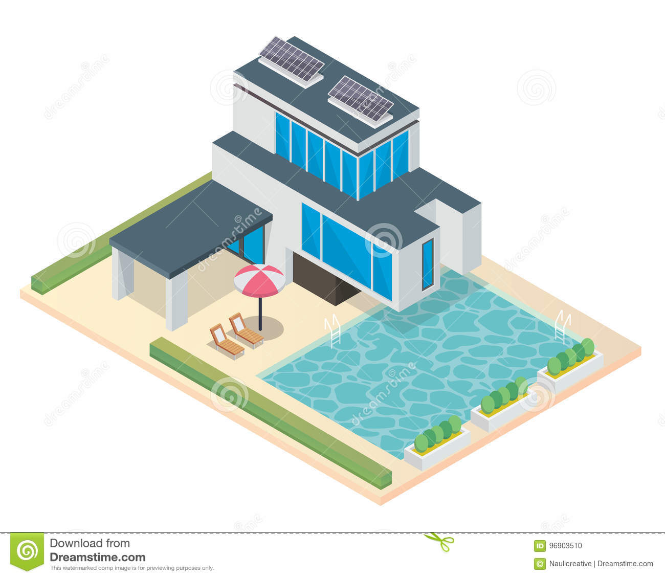 Modern Luxury Isometric Green Eco Friendly House With Solar Panel ...