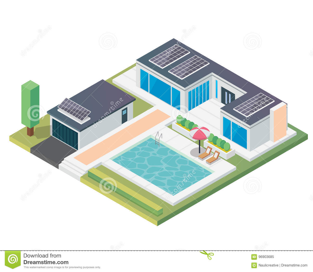 Modern Luxury Isometric Green Eco Friendly House With Solar Panel Diagrams Suitable For Infographics Illustration And Other Graphic Related Assets