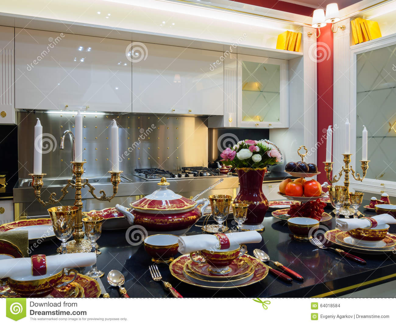 modern luxury kitchen with accessories stock photo image of empty