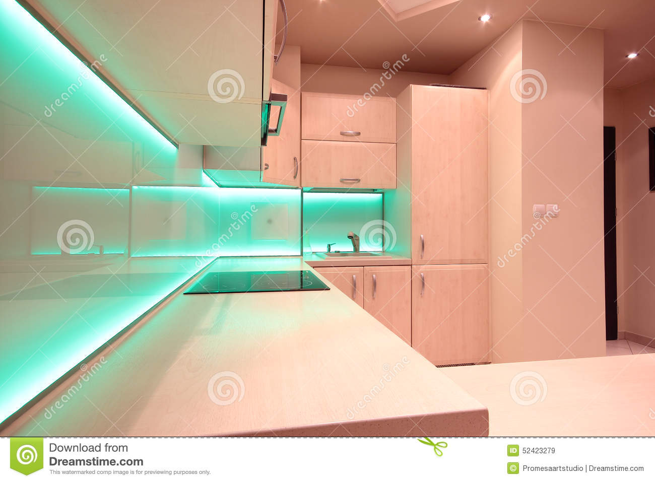 Modern Luxury Kitchen With Green LED Lighting Stock Photo - Image: 52423279