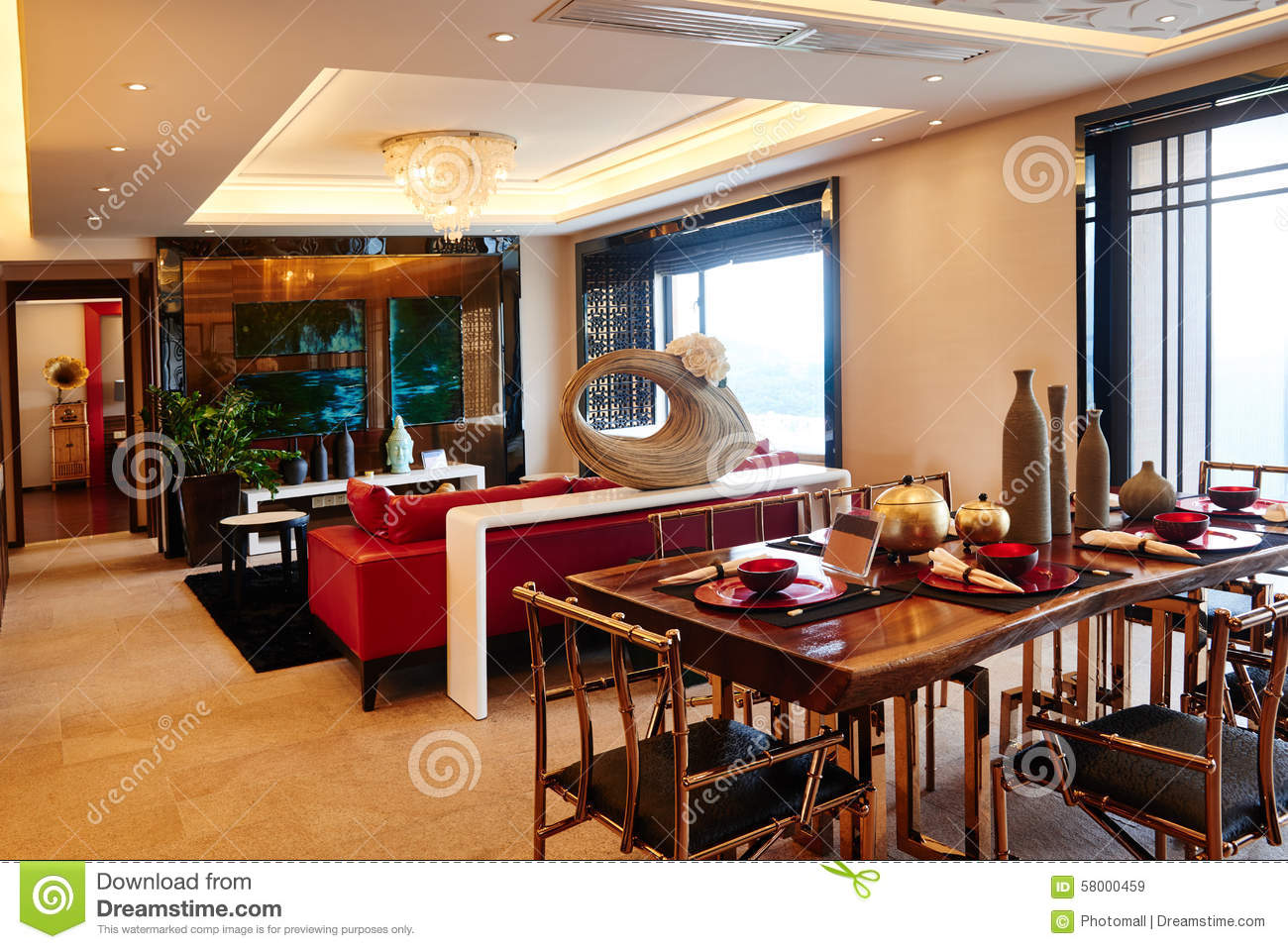 Modern Luxury Living Room Dining Room Editorial Stock Image Image