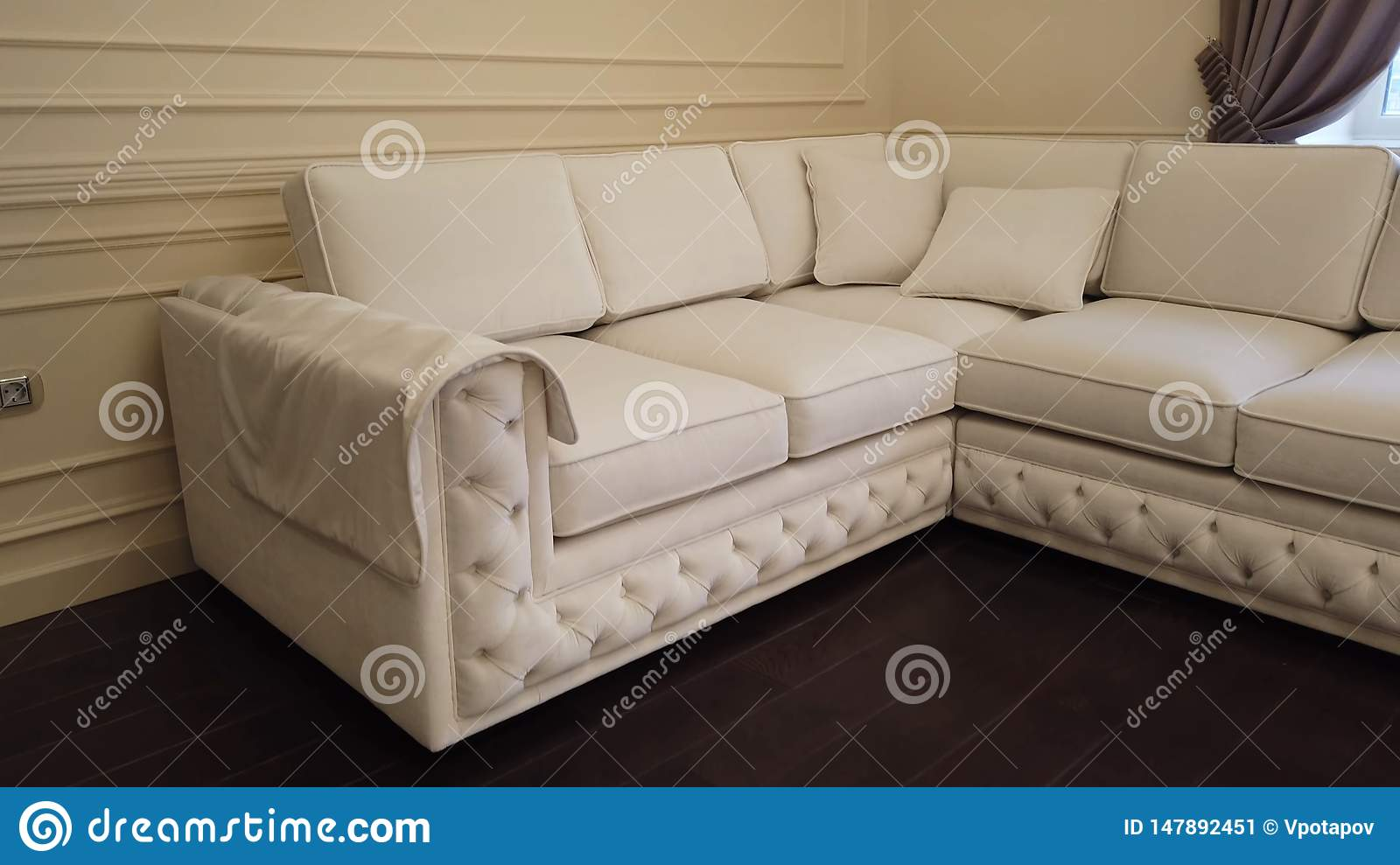 Modern Luxury Living Room With White Leather Corner Sofa ...