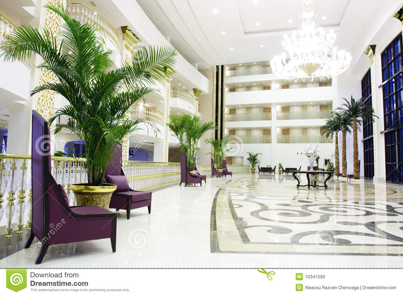 Interior Hotel modern luxury lobby interior in hotel in kemer, an stock photo