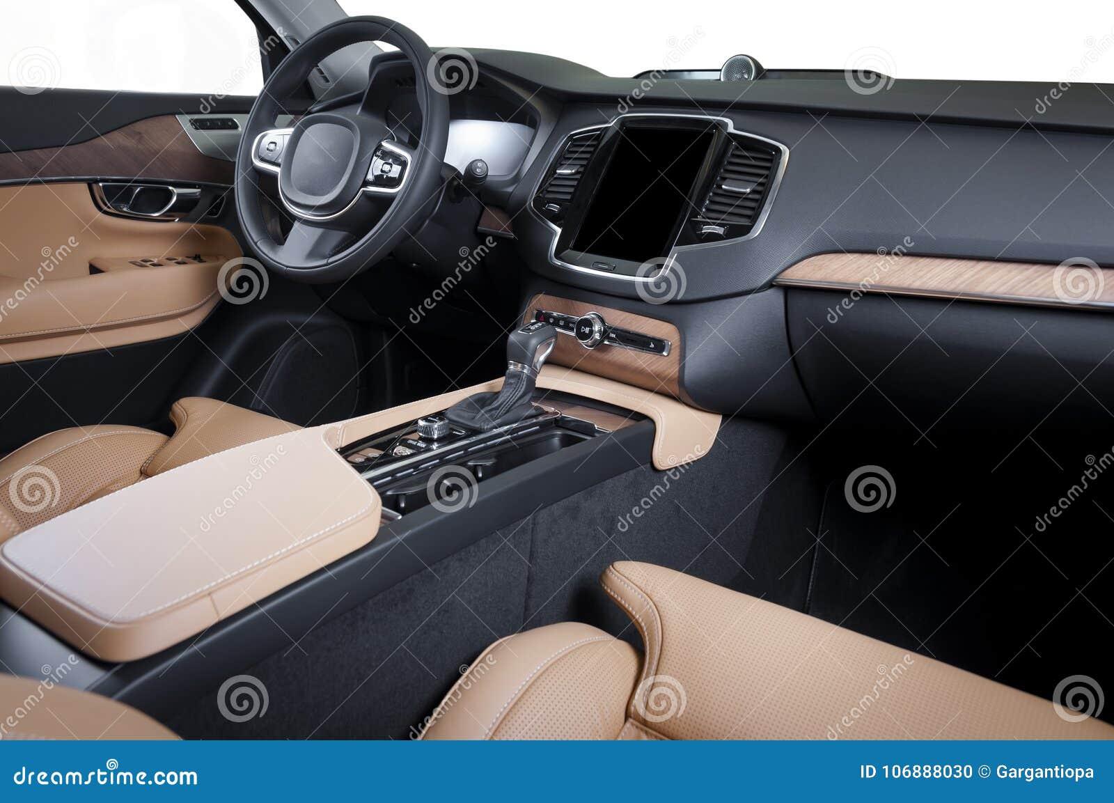 Modern Luxury Prestige Car Interior Dashboard Wood Panels