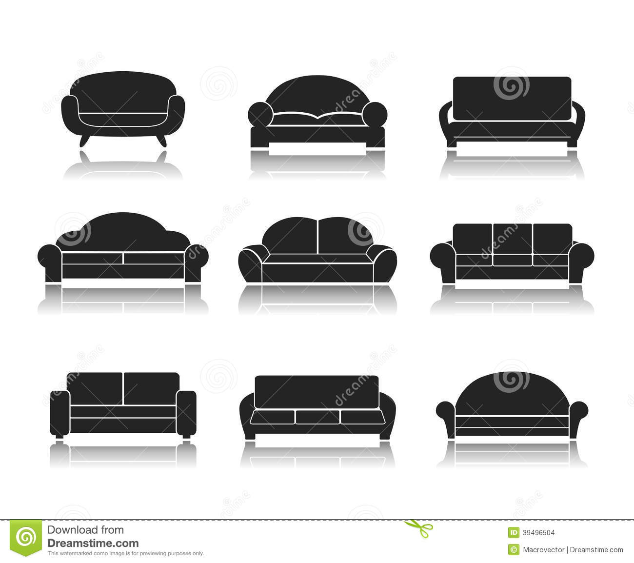 modern luxury sofas and couches stock vector image 39496504