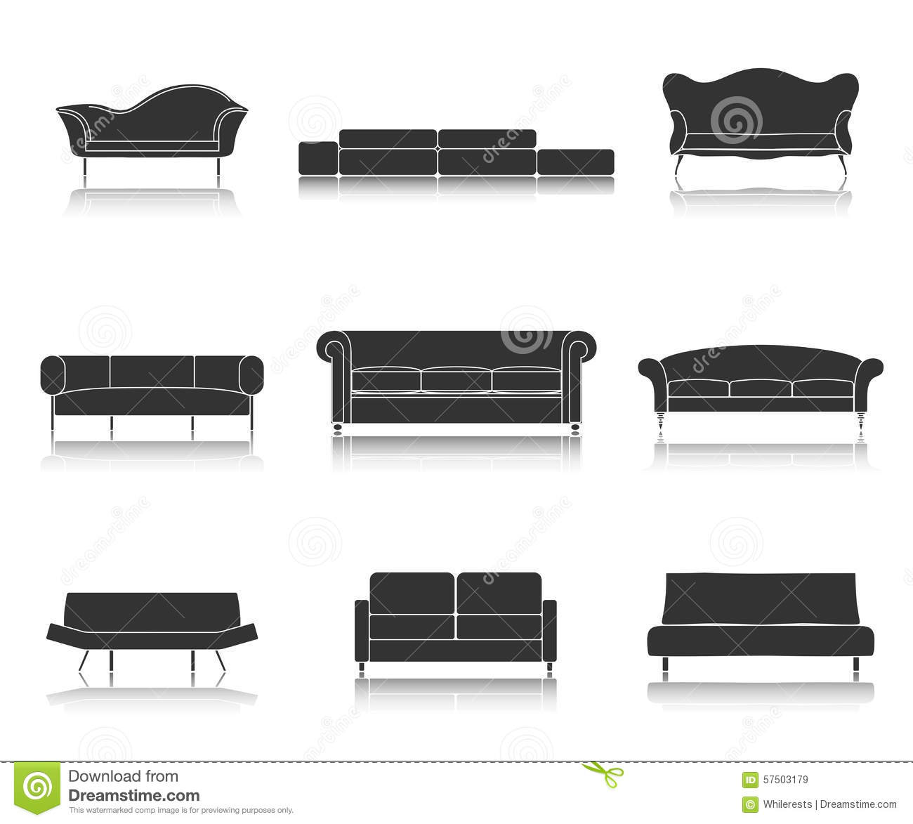 Furniture Ideas For Living Room Stock Vector: Modern Luxury Sofas And Couches Furniture Icons Set For